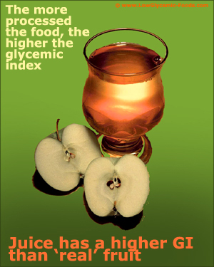 Apples and apple juice. Food processing raise a food's glycemic index.