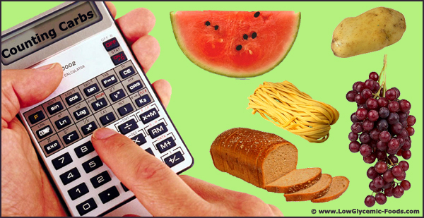 Counting carbs is a good idea in the beginning. Picture of calculator and carb rich foods.