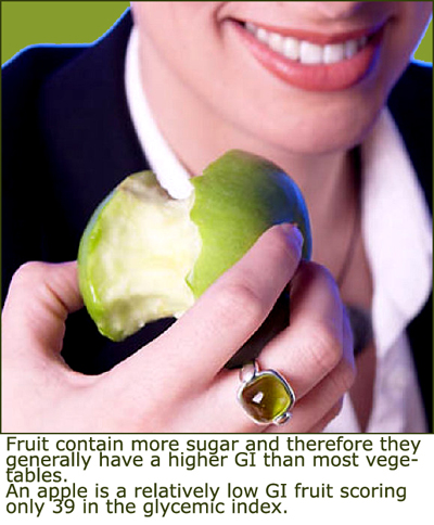Apples are relatively low glycemic foods. Woman eating an apple.