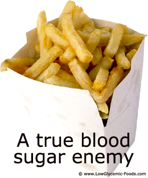 Potatoes are bad enough for your blood sugar levels. French fries are even worse as they are processed foods.