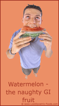 Be careful with watermelon as it has a surprinsingly high glycemic index: Picture of man eating watermelon.