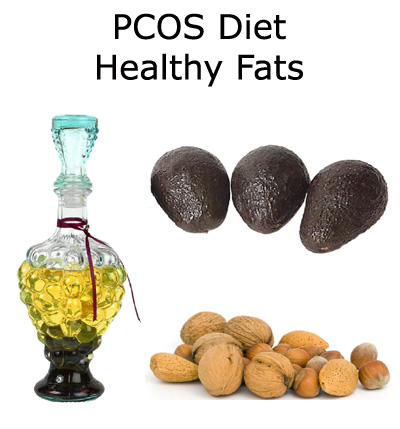 Healthy fats from avocados, nuts and olive oil are really great if you are suffering from PCOS.