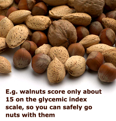 Nuts are rich in protein and have a low glycemic index score. Picture of walnuts and hazelnuts.