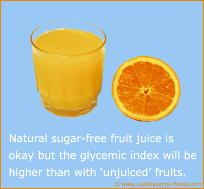 Orange juice has a relatively low GI but it is higher than fresh orange fruits.