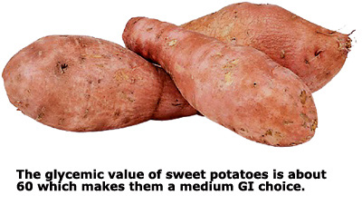 The root, sweet potatoes, are a better GI choice than white potatoes. Picture of three sweet potatoes.