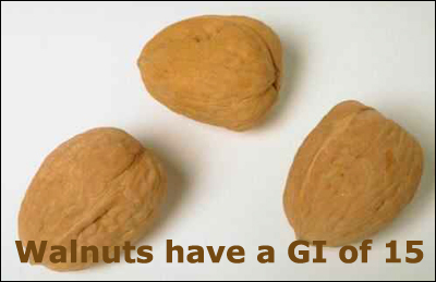Nuts are a rich source of protein and walnuts only have a GI of 15.